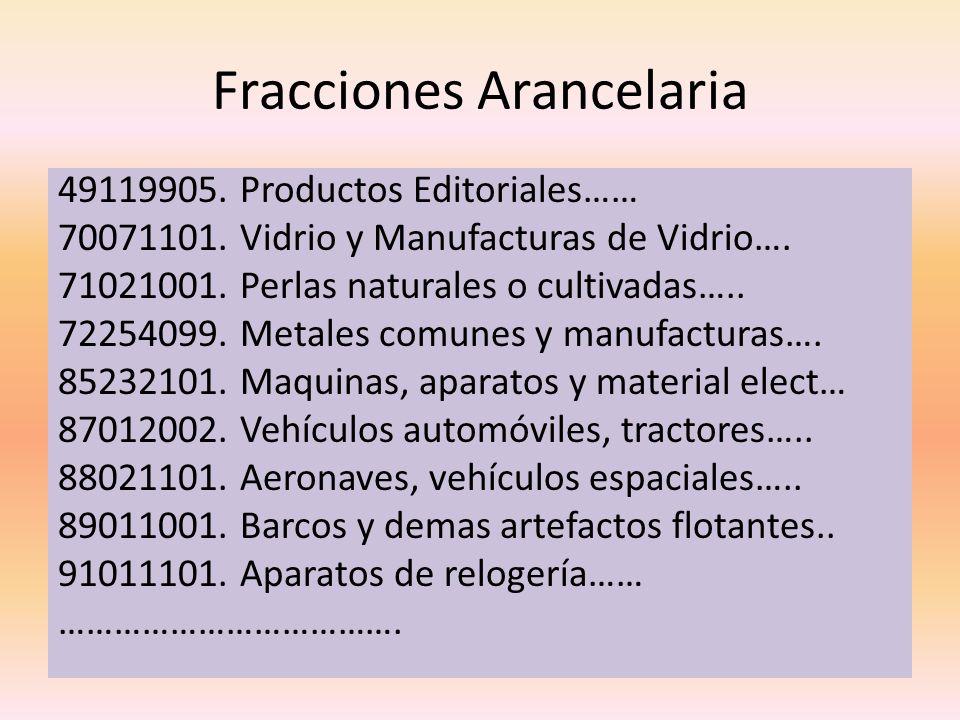 Fracciones Arancelaria 49119905. Productos Editoriales…… 70071101. Vidrio y Manufacturas de Vidrio…. 71021001. Perlas naturales o cultivadas….. 722540