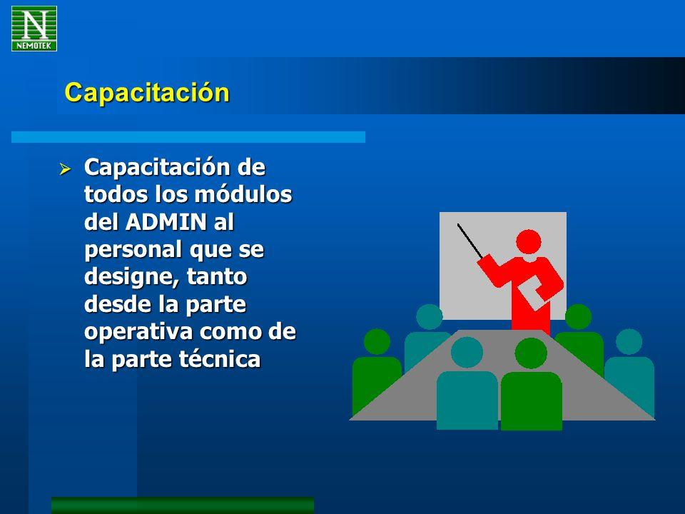 Capacitación Capacitación de todos los módulos del ADMIN al personal que se designe, tanto desde la parte operativa como de la parte técnica Capacitación de todos los módulos del ADMIN al personal que se designe, tanto desde la parte operativa como de la parte técnica