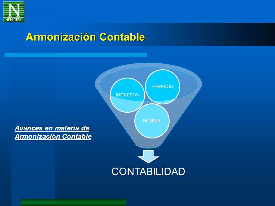 Armonización Contable CONTABILIDAD NÓMINAINGRESOSEGRESOS Avances en materia de Armonización Contable
