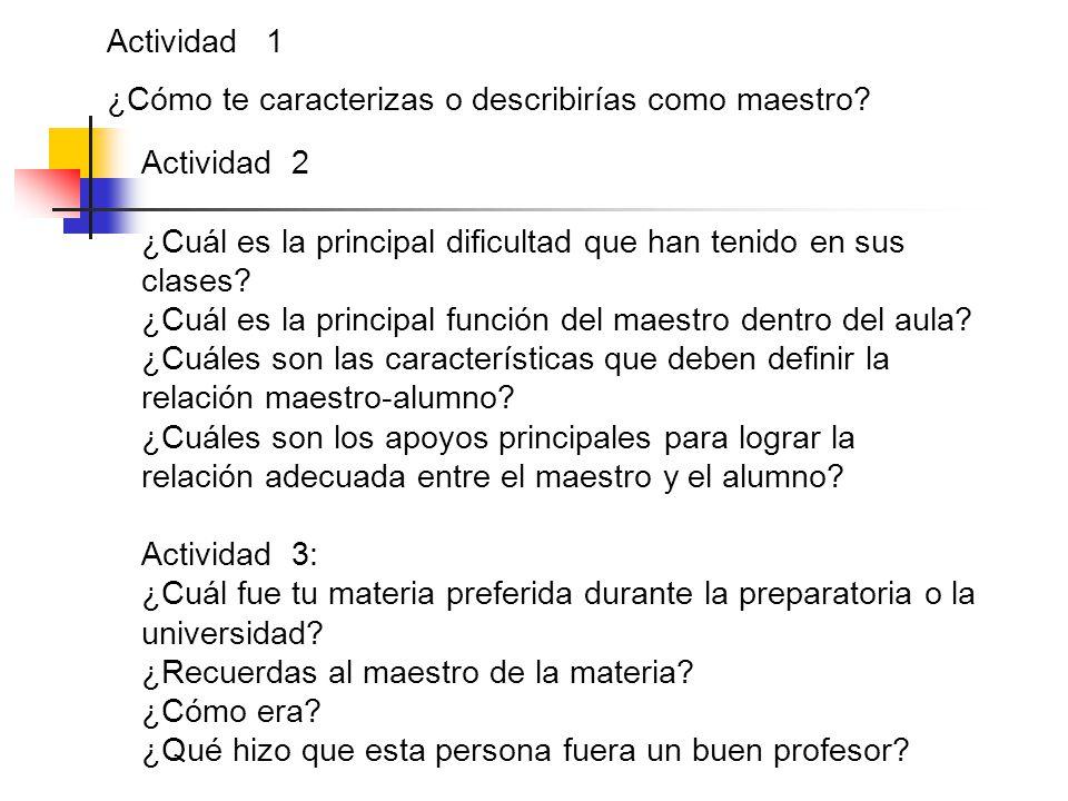Actividad 1 ¿Cómo te caracterizas o describirías como maestro? Actividad 2 ¿Cuál es la principal dificultad que han tenido en sus clases? ¿Cuál es la