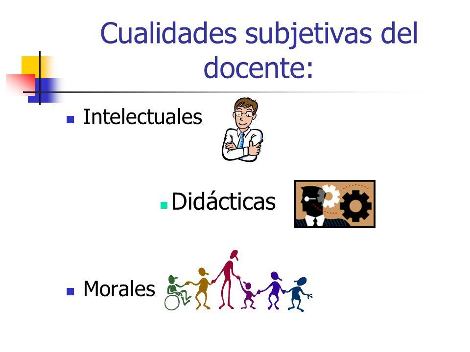 Cualidades subjetivas del docente: Intelectuales Didácticas Morales