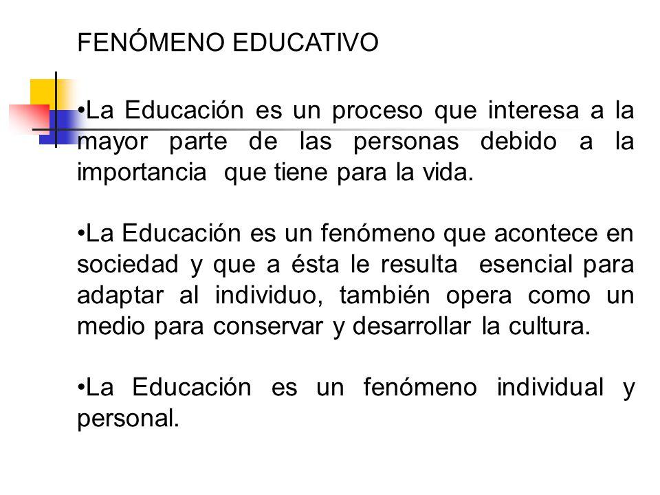 FENÓMENO EDUCATIVO La Educación es un proceso que interesa a la mayor parte de las personas debido a la importancia que tiene para la vida. La Educaci