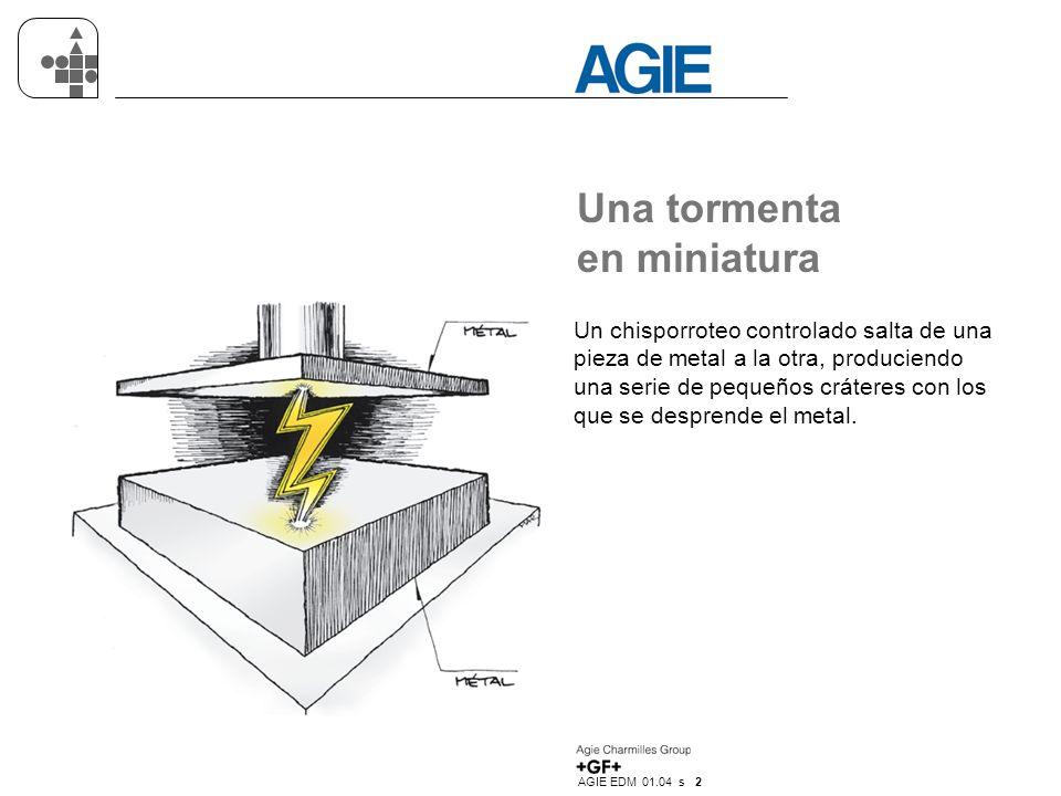 AGIE EDM 01.04 s 2 Una tormenta en miniatura Un chisporroteo controlado salta de una pieza de metal a la otra, produciendo una serie de pequeños cráte
