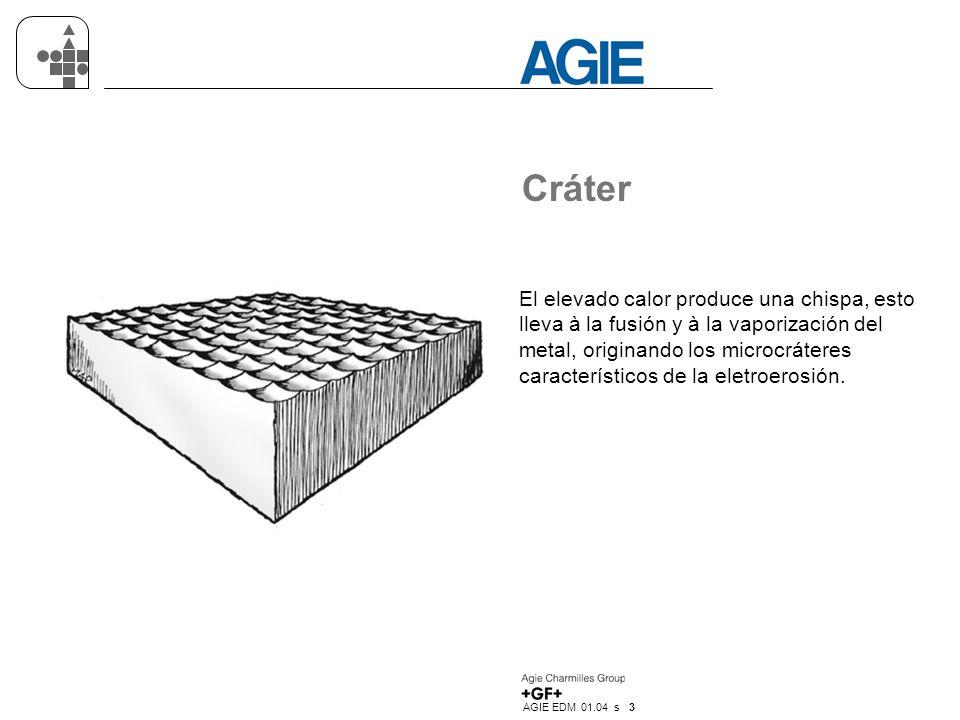 AGIE EDM 01.04 s 3 Cráter El elevado calor produce una chispa, esto lleva à la fusión y à la vaporización del metal, originando los microcráteres característicos de la eletroerosión.