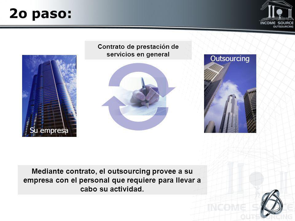 2o paso: Mediante contrato, el outsourcing provee a su empresa con el personal que requiere para llevar a cabo su actividad. Outsourcing Su empresa Co