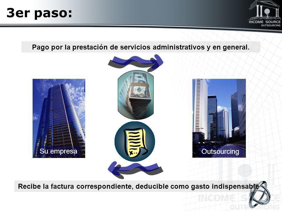 3er paso: Su empresa Outsourcing Pago por la prestación de servicios administrativos y en general. Recibe la factura correspondiente, deducible como g