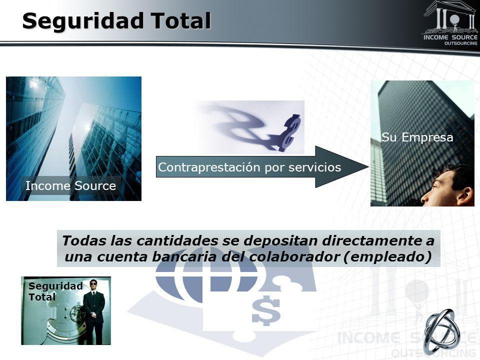 Seguridad Total Todas las cantidades se depositan directamente a una cuenta bancaria del colaborador (empleado) Contraprestación por servicios Su Empr