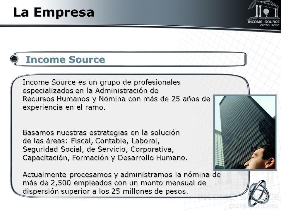 La Empresa Income Source Income Source Income Source es un grupo de profesionales especializados en la Administración de Recursos Humanos y Nómina con