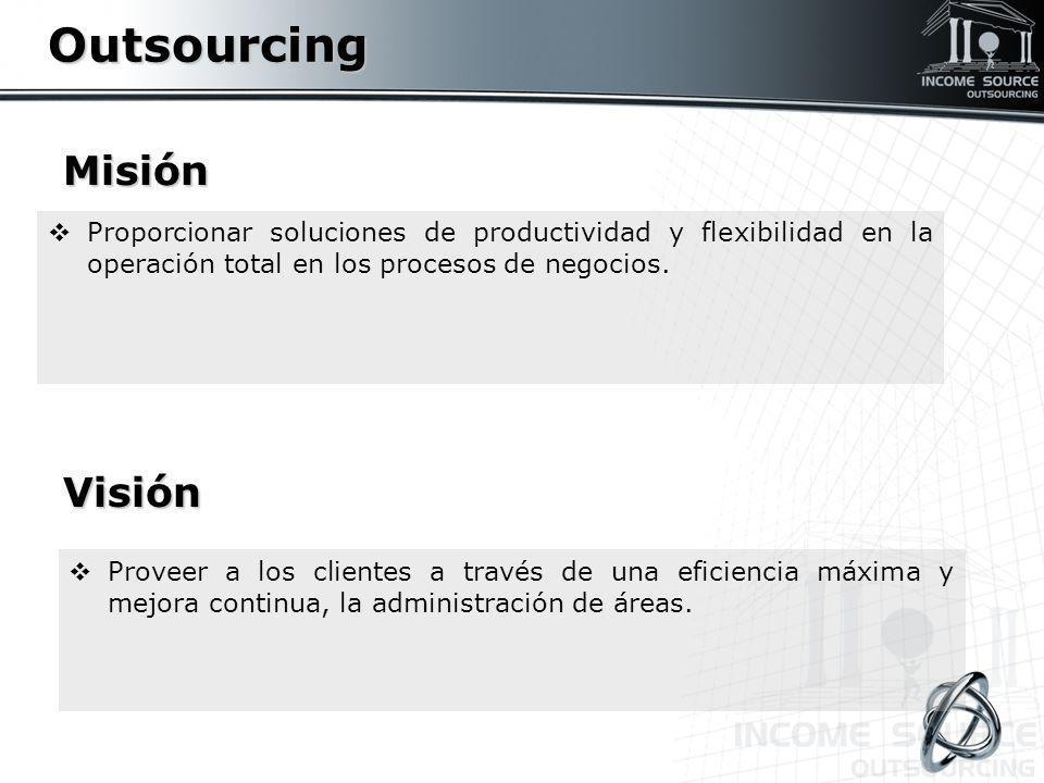 Misión Proporcionar soluciones de productividad y flexibilidad en la operación total en los procesos de negocios.OutsourcingVisión Proveer a los clien