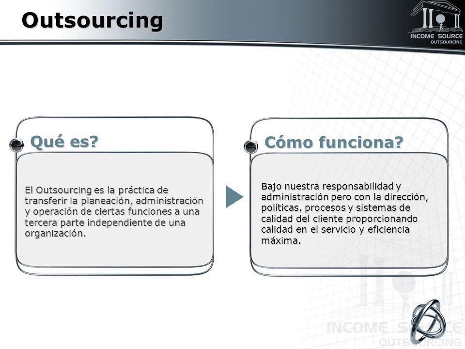 Outsourcing Cómo funciona? Cómo funciona? El Outsourcing es la práctica de transferir la planeación, administración y operación de ciertas funciones a