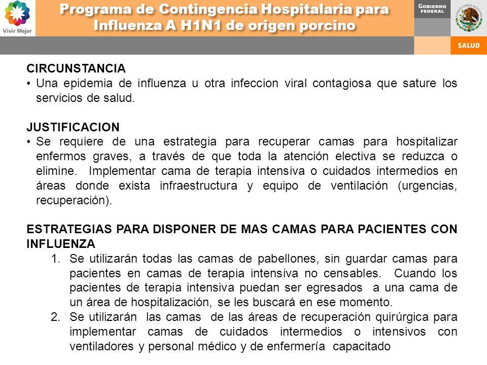 CIRCUNSTANCIA Una epidemia de influenza u otra infeccion viral contagiosa que sature los servicios de salud. JUSTIFICACION Se requiere de una estrateg