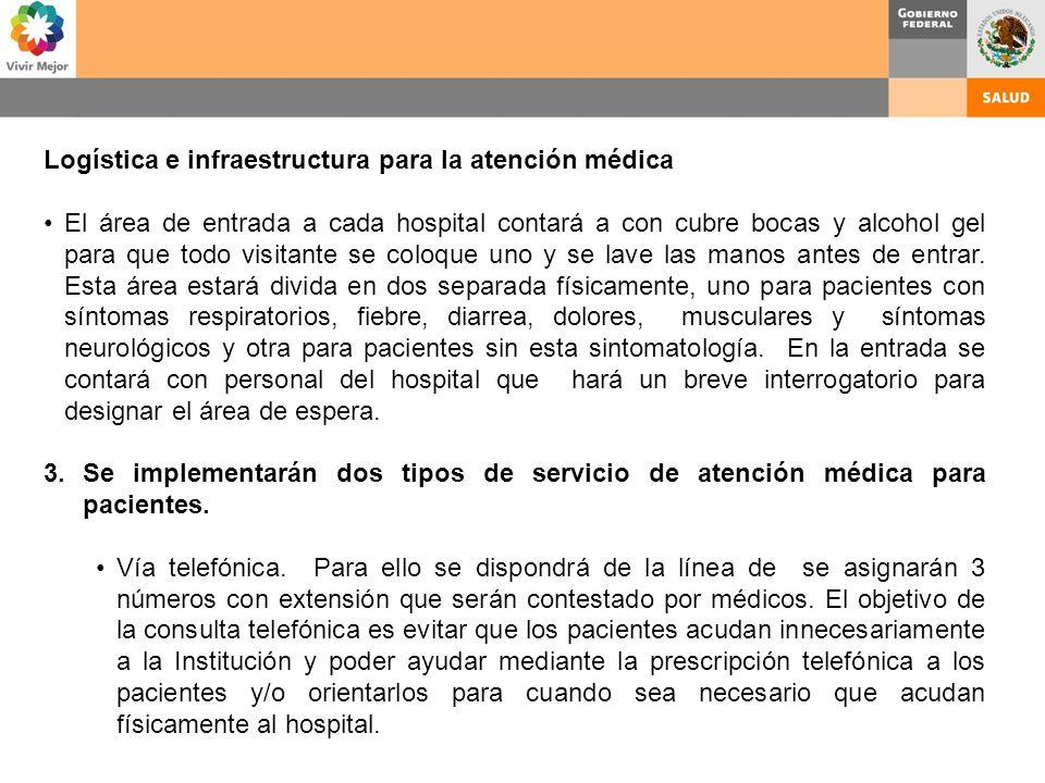Logística e infraestructura para la atención médica El área de entrada a cada hospital contará a con cubre bocas y alcohol gel para que todo visitante