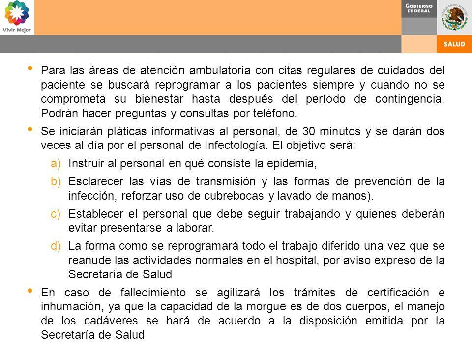 Para las áreas de atención ambulatoria con citas regulares de cuidados del paciente se buscará reprogramar a los pacientes siempre y cuando no se comp