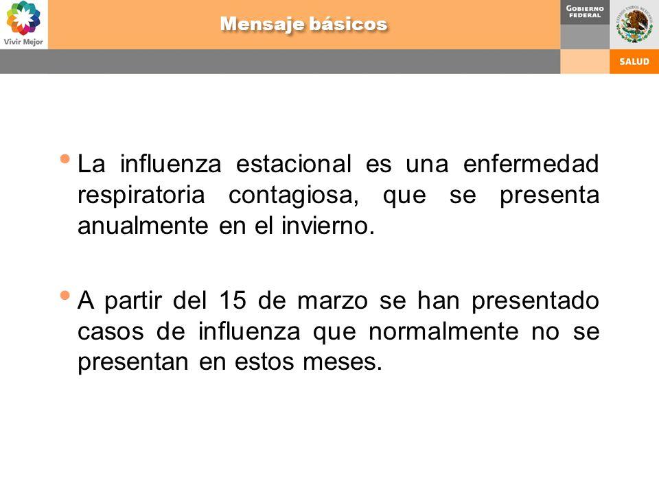 La influenza estacional es una enfermedad respiratoria contagiosa, que se presenta anualmente en el invierno. A partir del 15 de marzo se han presenta