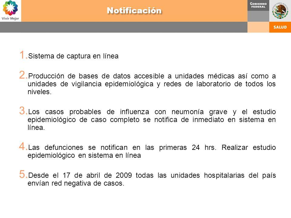 1. Sistema de captura en línea 2. Producción de bases de datos accesible a unidades médicas así como a unidades de vigilancia epidemiológica y redes d