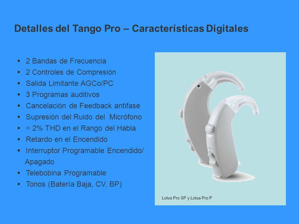 2 Bandas de Frecuencia 2 Controles de Compresión Salida Limitante AGCo/PC 3 Programas auditivos Cancelación de Feedback antifase Supresión del Ruido d