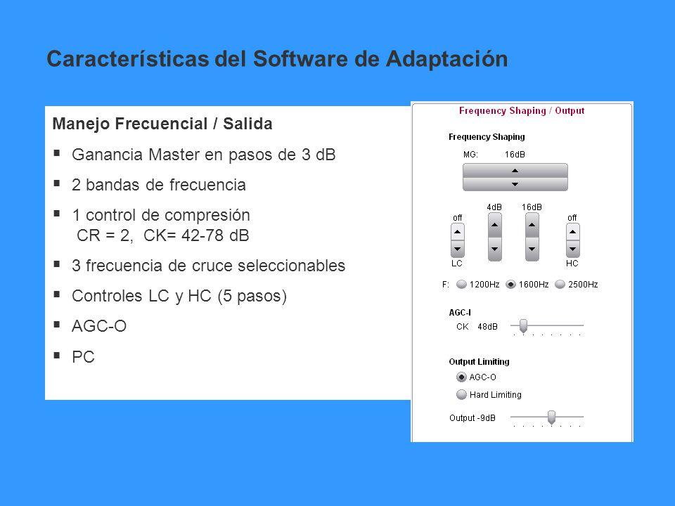 Manejo Frecuencial / Salida Ganancia Master en pasos de 3 dB 2 bandas de frecuencia 1 control de compresión CR = 2, CK= 42-78 dB 3 frecuencia de cruce