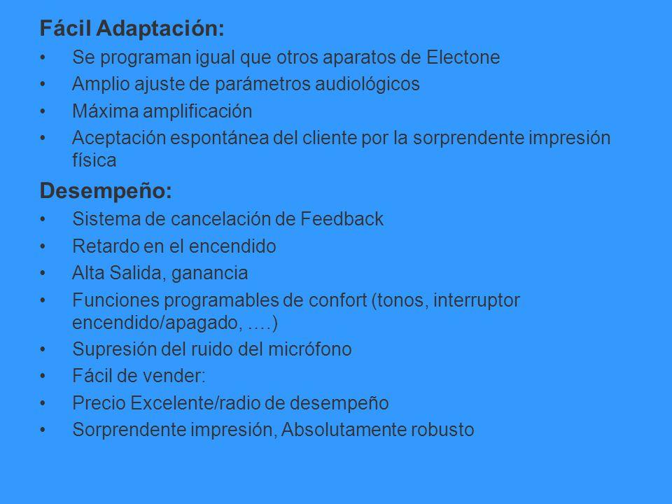 Fácil Adaptación: Se programan igual que otros aparatos de Electone Amplio ajuste de parámetros audiológicos Máxima amplificación Aceptación espontáne