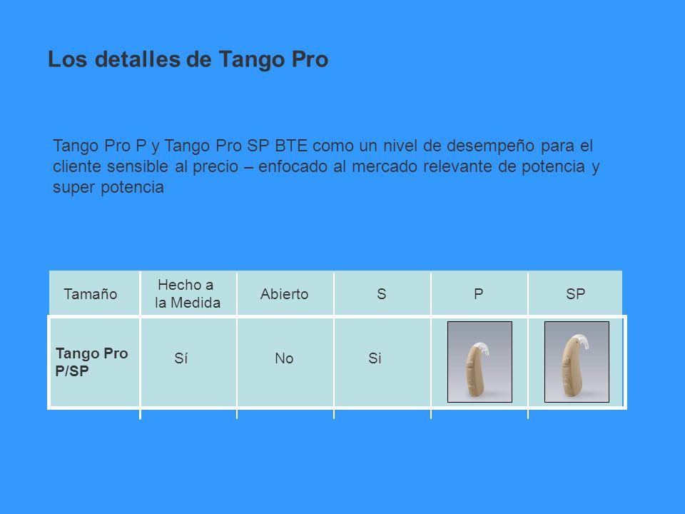 Tango Pro P/SP Hecho a la Medida AbiertoSPSPTamaño Tango Pro P y Tango Pro SP BTE como un nivel de desempeño para el cliente sensible al precio – enfo