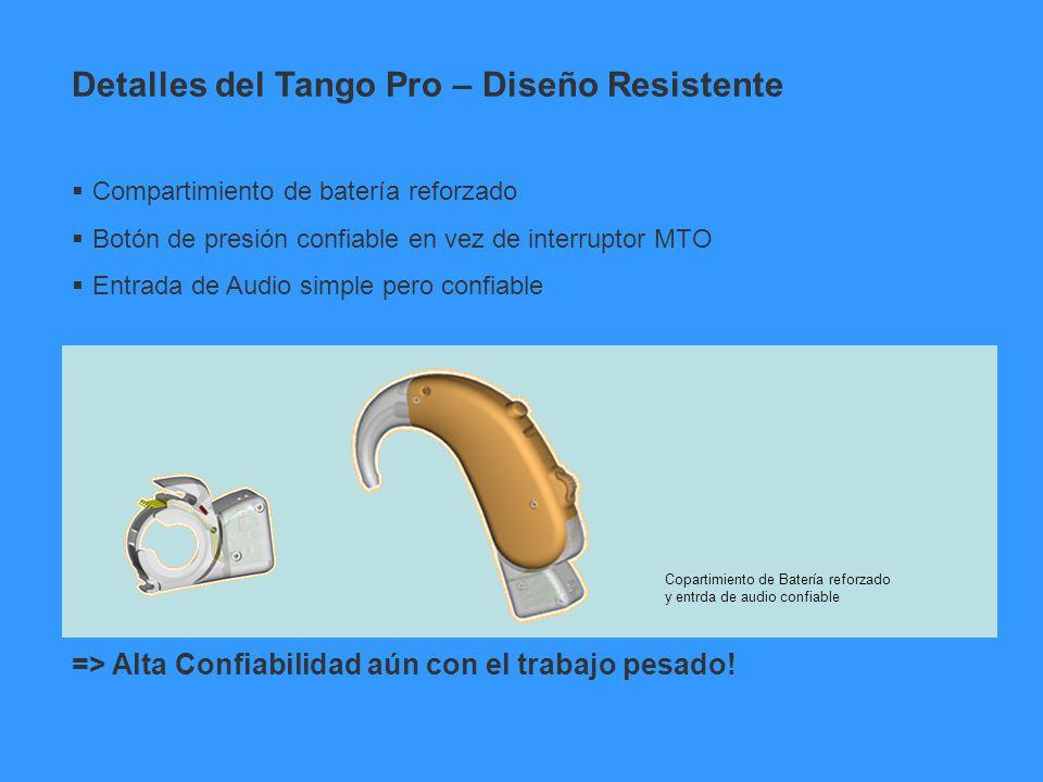 Compartimiento de batería reforzado Botón de presión confiable en vez de interruptor MTO Entrada de Audio simple pero confiable => Alta Confiabilidad
