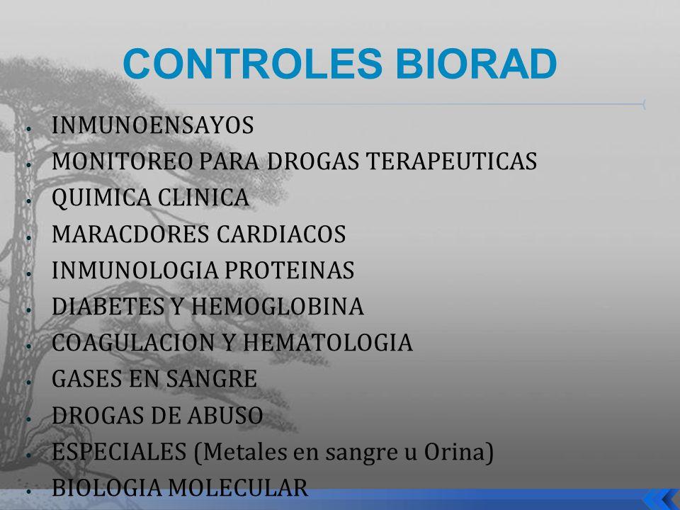 CONTROLES BIORAD INMUNOENSAYOS MONITOREO PARA DROGAS TERAPEUTICAS QUIMICA CLINICA MARACDORES CARDIACOS INMUNOLOGIA PROTEINAS DIABETES Y HEMOGLOBINA CO