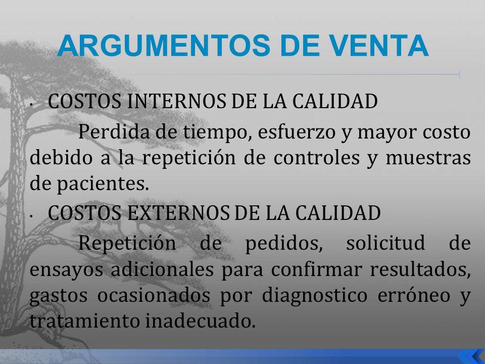 ARGUMENTOS DE VENTA COSTOS INTERNOS DE LA CALIDAD Perdida de tiempo, esfuerzo y mayor costo debido a la repetición de controles y muestras de paciente