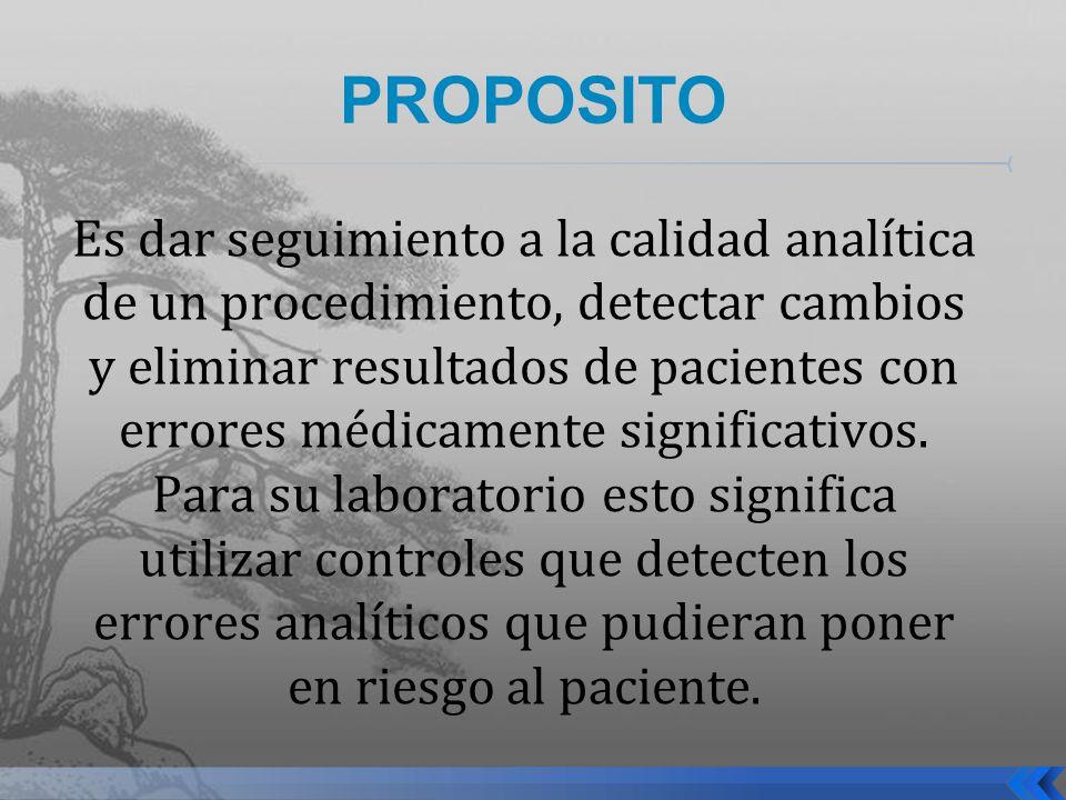 PROPOSITO Es dar seguimiento a la calidad analítica de un procedimiento, detectar cambios y eliminar resultados de pacientes con errores médicamente s