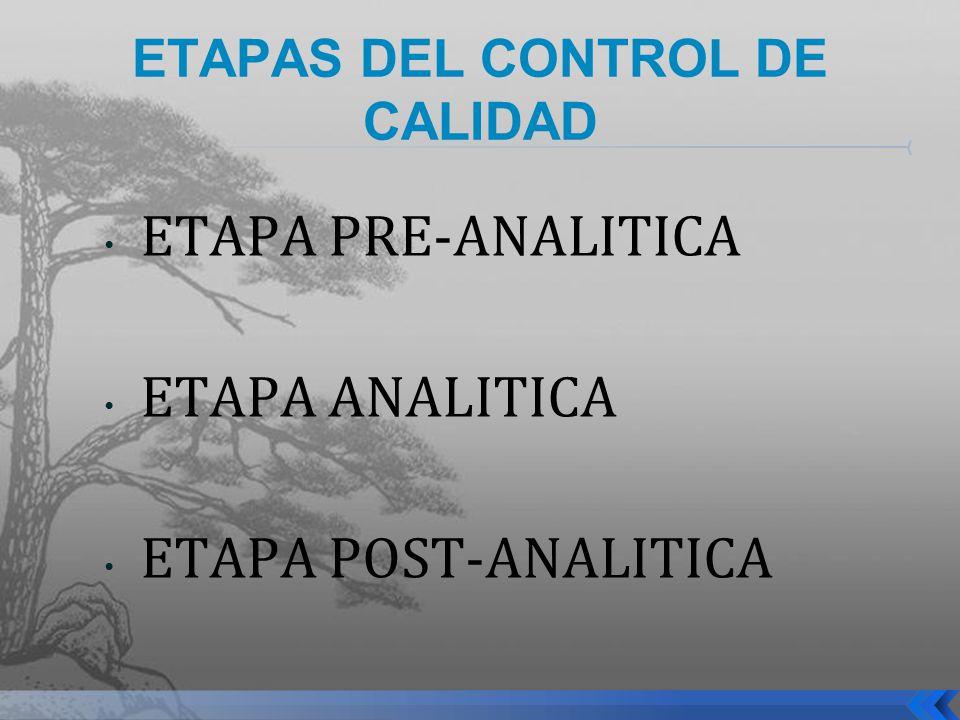 ETAPAS DEL CONTROL DE CALIDAD ETAPA PRE-ANALITICA ETAPA ANALITICA ETAPA POST-ANALITICA