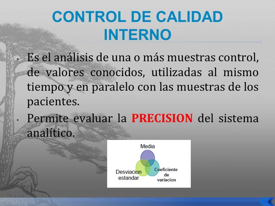 CONTROL DE CALIDAD INTERNO Es el análisis de una o más muestras control, de valores conocidos, utilizadas al mismo tiempo y en paralelo con las muestr