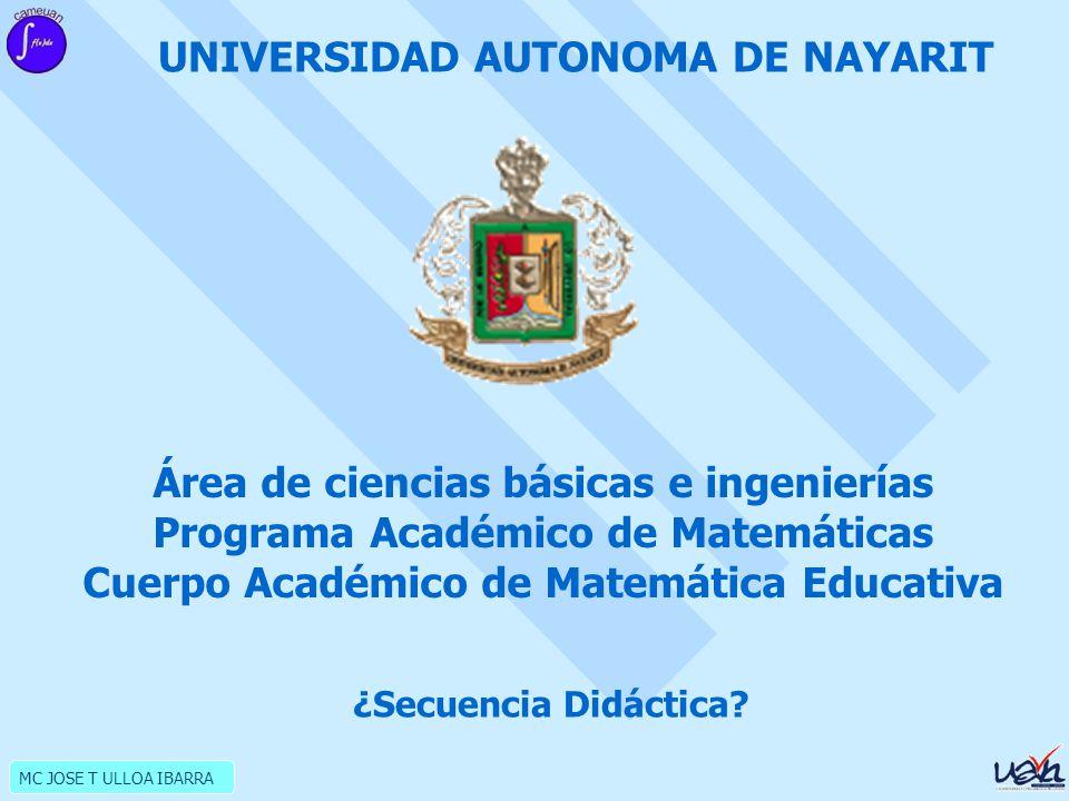 MC JOSE T ULLOA IBARRA UNIVERSIDAD AUTONOMA DE NAYARIT Área de ciencias básicas e ingenierías Programa Académico de Matemáticas Cuerpo Académico de Matemática Educativa ¿Secuencia Didáctica?