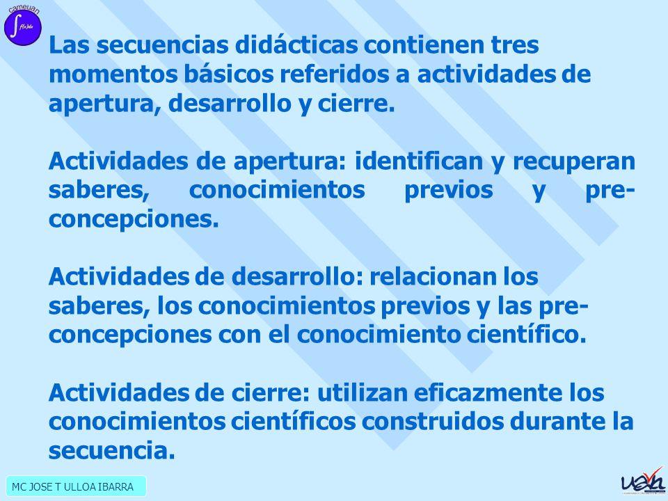 MC JOSE T ULLOA IBARRA Las secuencias didácticas contienen tres momentos básicos referidos a actividades de apertura, desarrollo y cierre.