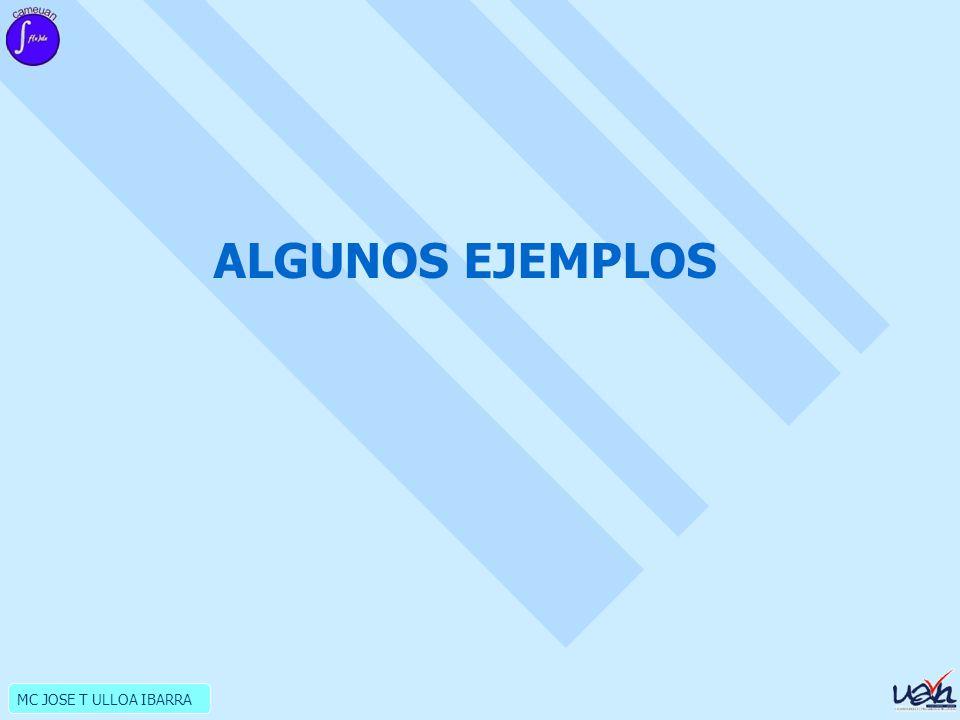 MC JOSE T ULLOA IBARRA ALGUNOS EJEMPLOS