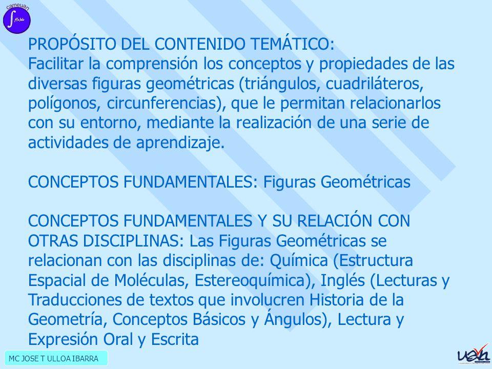 PROPÓSITO DEL CONTENIDO TEMÁTICO: Facilitar la comprensión los conceptos y propiedades de las diversas figuras geométricas (triángulos, cuadriláteros, polígonos, circunferencias), que le permitan relacionarlos con su entorno, mediante la realización de una serie de actividades de aprendizaje.