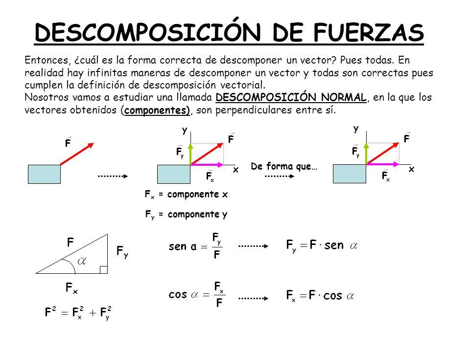 DESCOMPOSICIÓN DE FUERZAS Entonces, ¿cuál es la forma correcta de descomponer un vector? Pues todas. En realidad hay infinitas maneras de descomponer