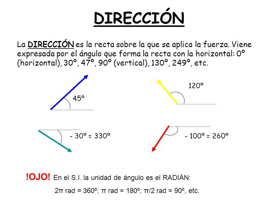 DIRECCIÓN La DIRECCIÓN es la recta sobre la que se aplica la fuerza. Viene expresada por el ángulo que forma la recta con la horizontal: 0º (horizonta