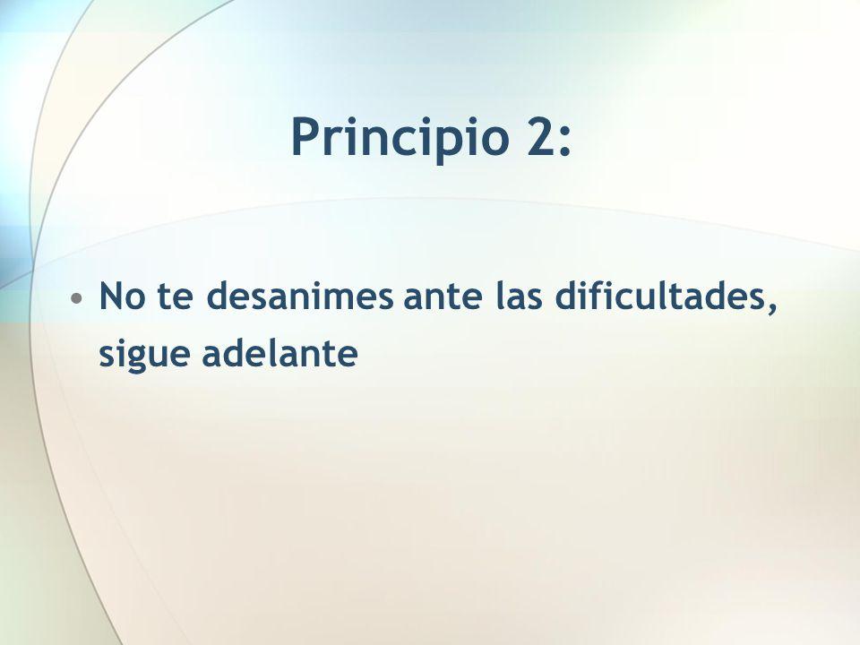 Principio 2: No te desanimes ante las dificultades, sigue adelante