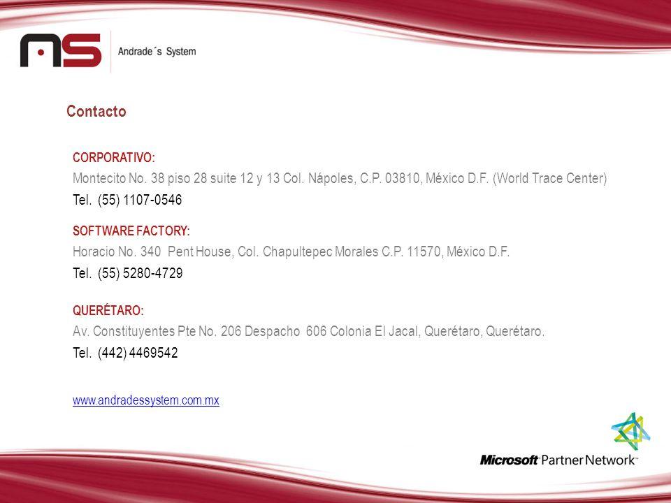 Contacto CORPORATIVO: Montecito No. 38 piso 28 suite 12 y 13 Col. Nápoles, C.P. 03810, México D.F. (World Trace Center) Tel. (55) 1107-0546 SOFTWARE F