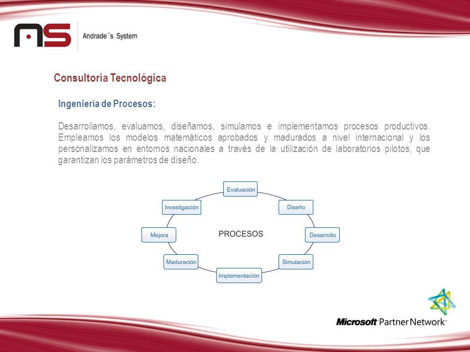 Consultoría Tecnológica Ingeniería de Procesos: Desarrollamos, evaluamos, diseñamos, simulamos e implementamos procesos productivos. Empleamos los mod