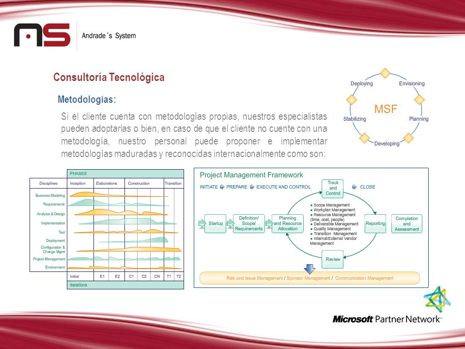 Consultoría Tecnológica Metodologías: Si el cliente cuenta con metodologías propias, nuestros especialistas pueden adoptarlas o bien, en caso de que e