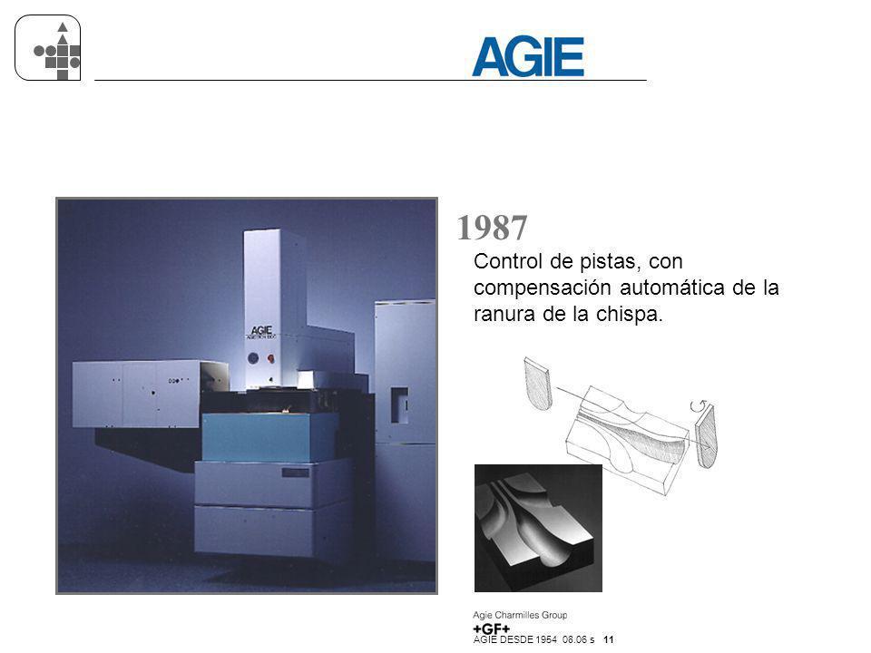 AGIE DESDE 1954 08.06 s 11 1987 Control de pistas, con compensación automática de la ranura de la chispa.