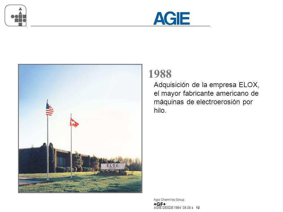 AGIE DESDE 1954 08.06 s 12 1988 Adquisición de la empresa ELOX, el mayor fabricante americano de máquinas de electroerosión por hilo.