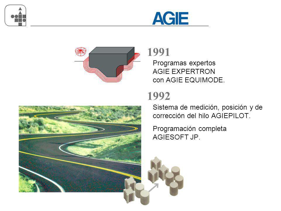 AGIE DESDE 1954 08.06 s 13 1991 Programas expertos AGIE EXPERTRON con AGIE EQUIMODE. 1992 Sistema de medición, posición y de corrección del hilo AGIEP