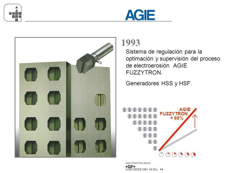 AGIE DESDE 1954 08.06 s 14 1993 Sistema de regulación para la optimación y supervisión del proceso de electroerosión AGIE FUZZYTRON. Generadores HSS y
