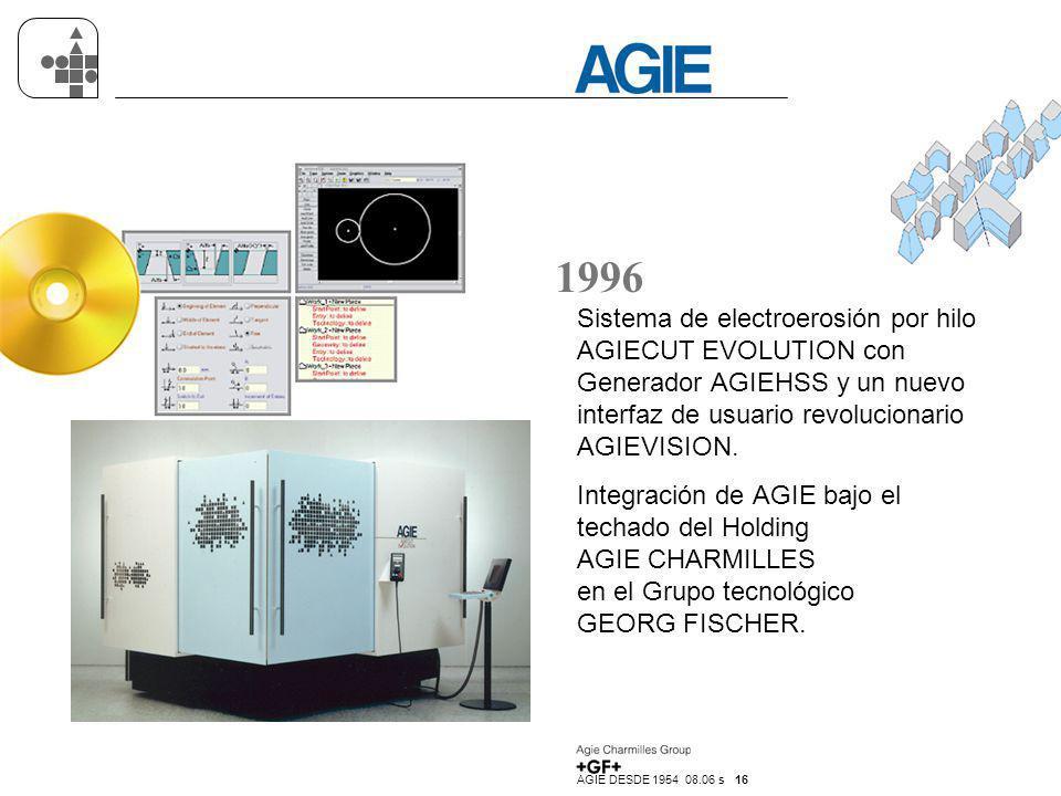 AGIE DESDE 1954 08.06 s 16 1996 Sistema de electroerosión por hilo AGIECUT EVOLUTION con Generador AGIEHSS y un nuevo interfaz de usuario revolucionar