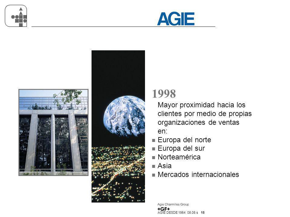 AGIE DESDE 1954 08.06 s 18 1998 Mayor proximidad hacia los clientes por medio de propias organizaciones de ventas en: n Europa del norte n Europa del