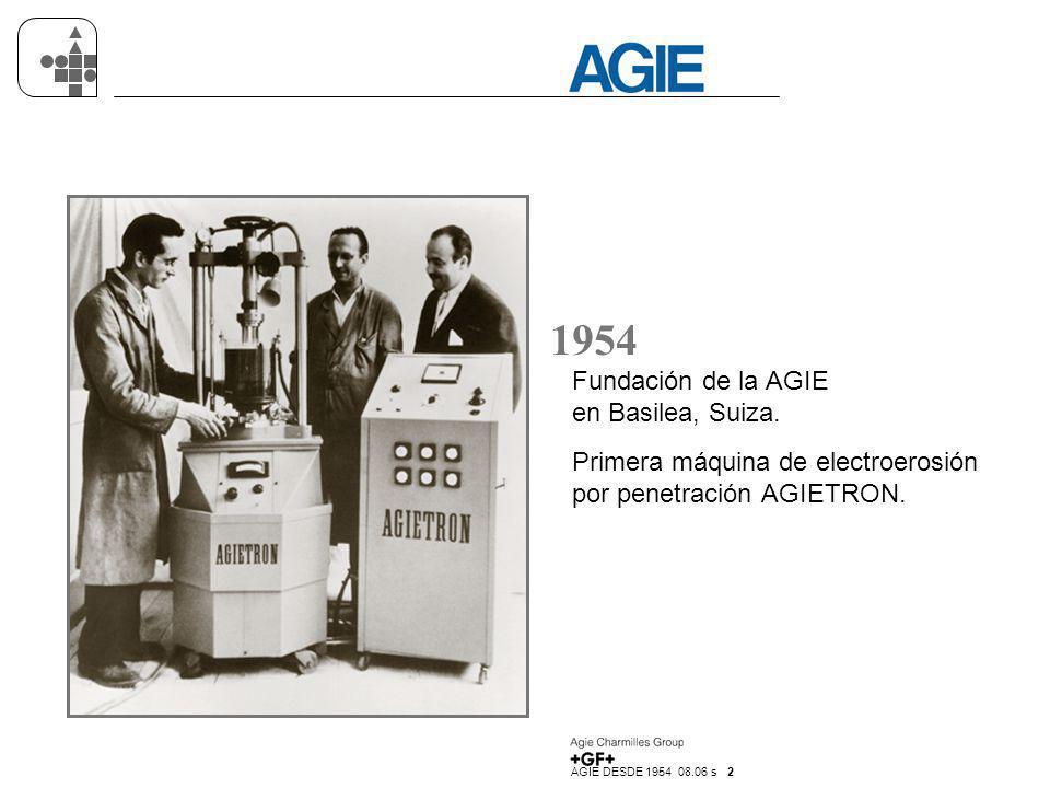 AGIE DESDE 1954 08.06 s 2 1954 Fundación de la AGIE en Basilea, Suiza. Primera máquina de electroerosión por penetración AGIETRON.