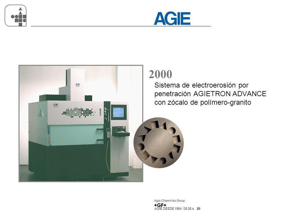 AGIE DESDE 1954 08.06 s 20 2000 Sistema de electroerosión por penetración AGIETRON ADVANCE con zócalo de polímero-granito