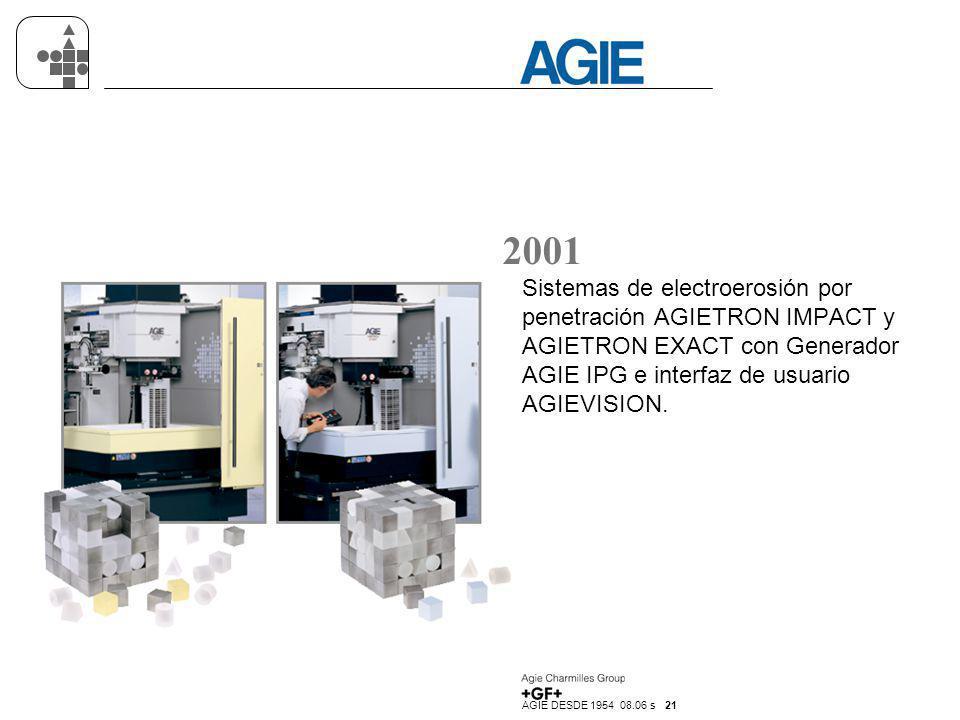 AGIE DESDE 1954 08.06 s 21 2001 Sistemas de electroerosión por penetración AGIETRON IMPACT y AGIETRON EXACT con Generador AGIE IPG e interfaz de usuar
