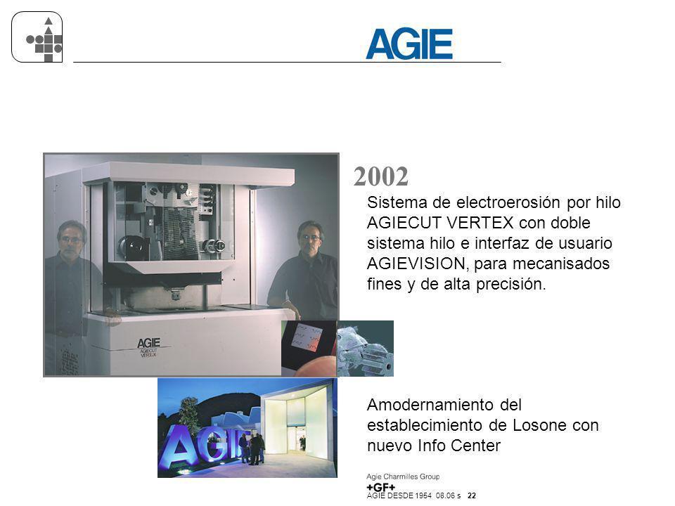 AGIE DESDE 1954 08.06 s 22 2002 Sistema de electroerosión por hilo AGIECUT VERTEX con doble sistema hilo e interfaz de usuario AGIEVISION, para mecani