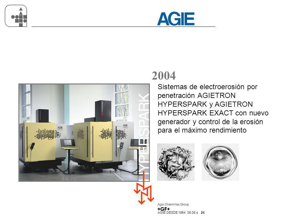 AGIE DESDE 1954 08.06 s 24 2004 Sistemas de electroerosión por penetración AGIETRON HYPERSPARK y AGIETRON HYPERSPARK EXACT con nuevo generador y contr